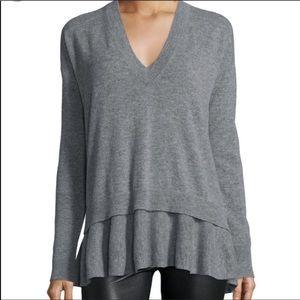 Autumn Cashmere V neck Sweater Layered Ruffle Hem